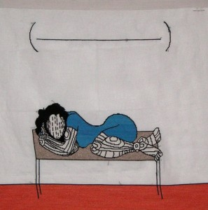 Nucleus of the tapestry - woman curled up on a bench