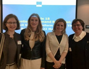 RENATE Members with EU Anti-Trafficking Coordinator Myria Vassiliadou (second from right) and Katarzyna Cuadrat-Grzybowska (second from left)