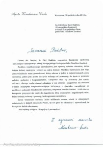 Letter of Support from the First Lady of Poland