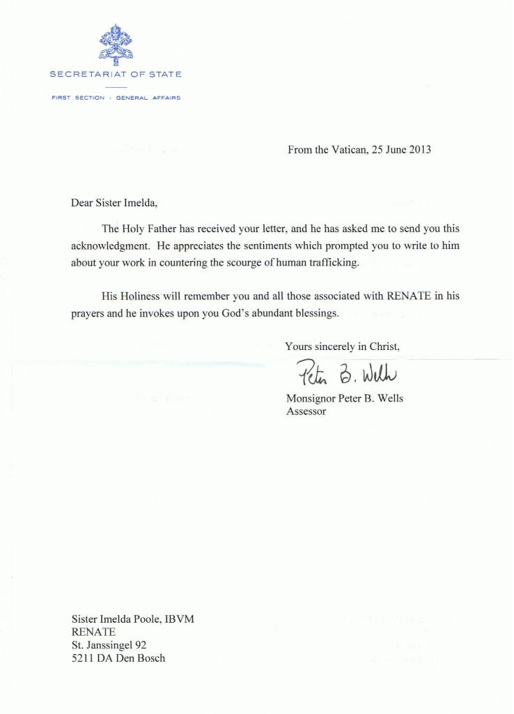 Letter Secretariat of State Vatican