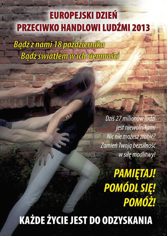 Poster encouraging to join in prayer on European Day against HT in Poland