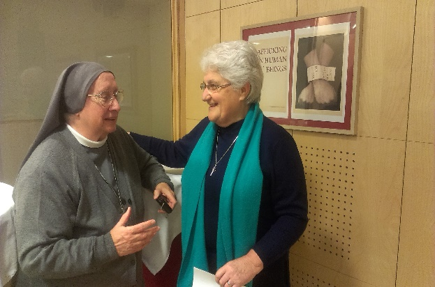 Sr. Eugenia Bonetti and Sr. Marie Helene Halligon at COMECE Debate in Brussels, 26th December 2014