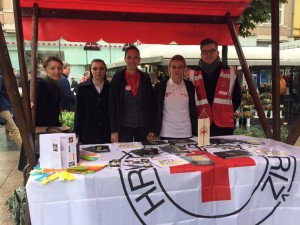 Figure 2. Ana, Sr. Stanka, Jitka and Young People from Croatian Red Cross at the Flower Square in Zagreb
